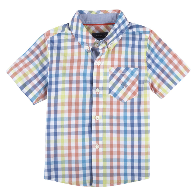 Multi Gingham Short Sleeve Button-Down Shirt - Xoomkart