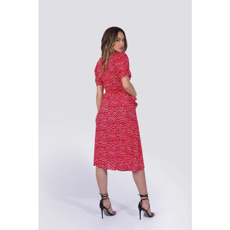 Coco Wrap Dress | Red Polka Dot - Xoomkart