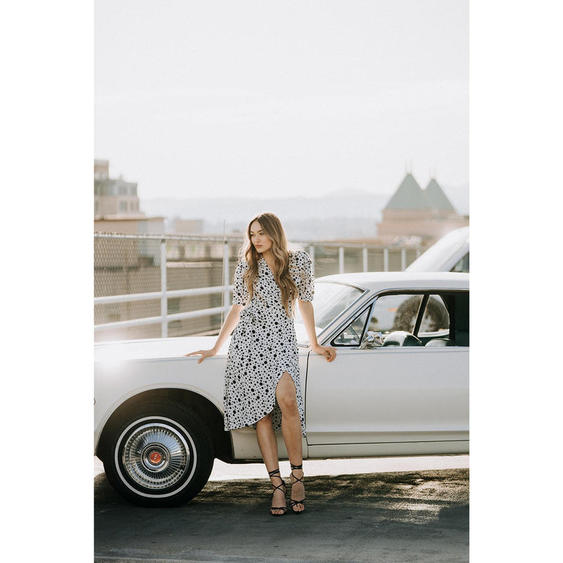 Coco Dress | White Polka Dot - Xoomkart