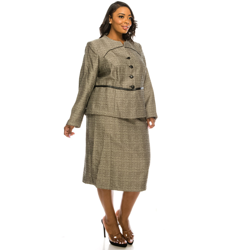 Danillo Long Sleeve Round Collar Piping Detail Checkered Twill Skirt - Xoomkart