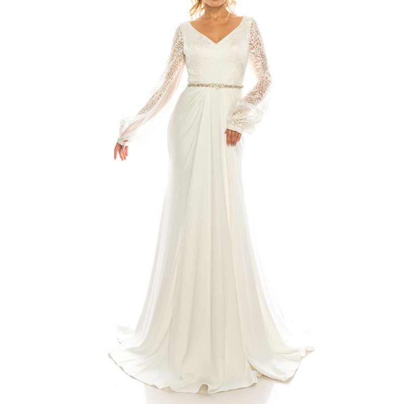 Odrella Ivory Embroidered Mesh Jacquard & Crepe Evening Gown - Xoomkart