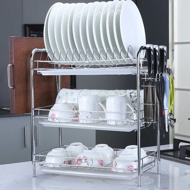 2/3 Tiers Dish Drying Rack Holder Basket Plated Iron Home