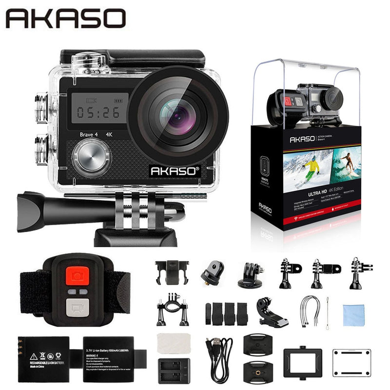 "AKASO Brave 4 Action camera Ultra HD 4K WiFi 2.0"" 170D - Xoomkart"