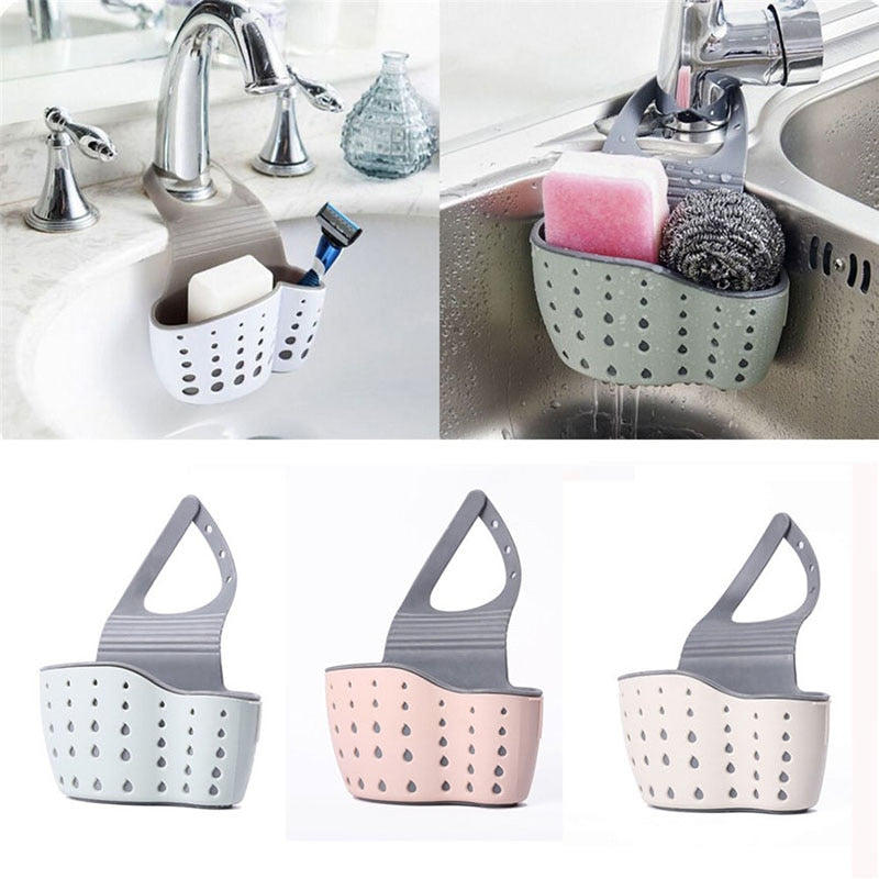 Sink Shelf Soap Sponge Drain Rack Silicone Storage Basket