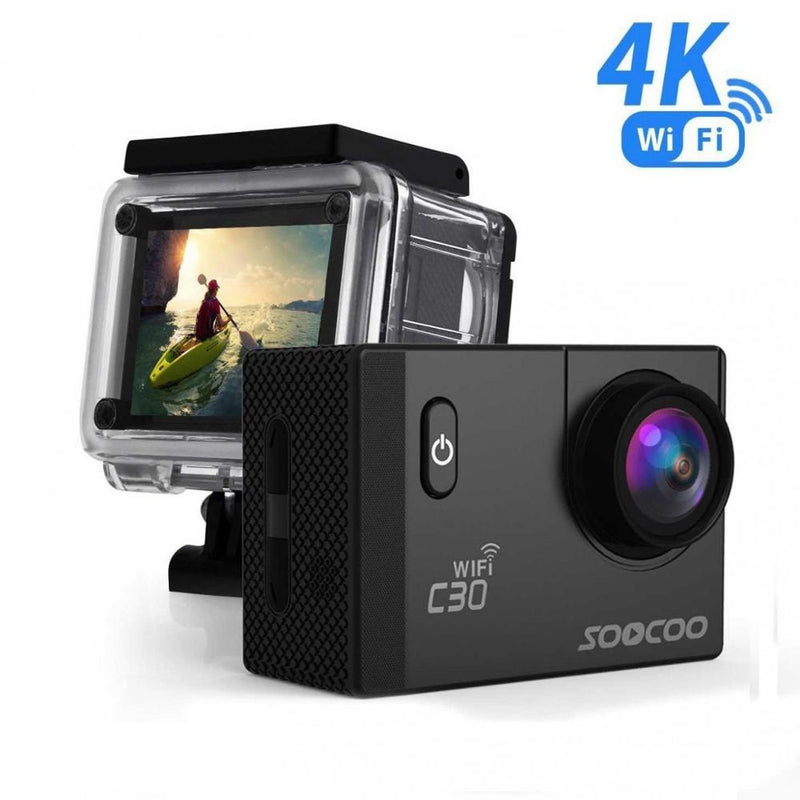 Action Camera 4K C30 Waterproof 20MP WiFi LCD - Xoomkart