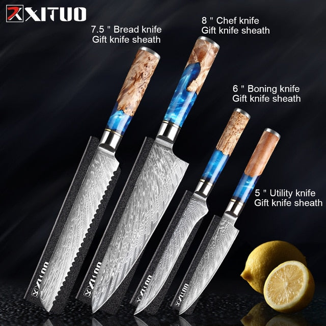 XITUO Kitchen Knives-Set Damascus Steel VG10 Chef Knife
