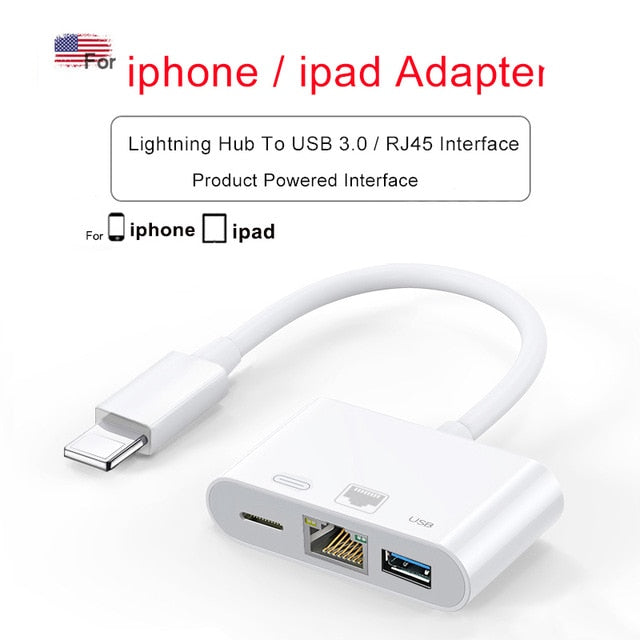 Lightning To 1080P HDMI Cable RJ45 Ethernet USB iphone hub adapte - Xoomkart
