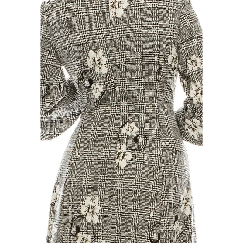 Sandra Darren Black White Glen Plaid Floral Jacquard A-Line Dress - Xoomkart