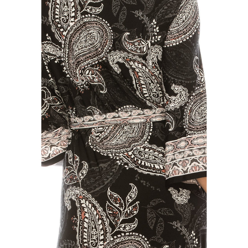 Sandra Darren Black Ivory Grey Textured Paisley Printed Dress - Xoomkart