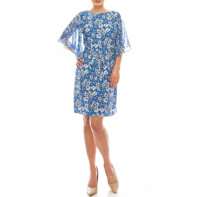 Sandra Darren Blue Navy White Floral Printed Dress with Sheer
