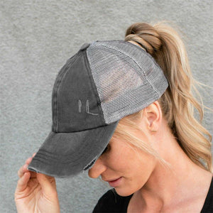 🔥Hot Sale 🔥2020 new mesh cross cutout Ponytail baseball cap