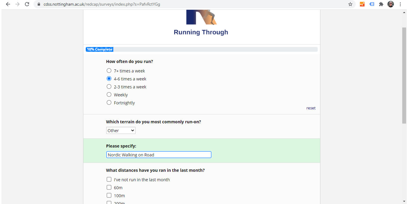 Running Through questionnaire