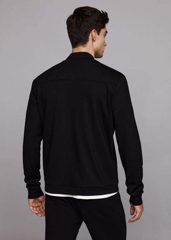 PLACKET BOMBER TOP - BLACK