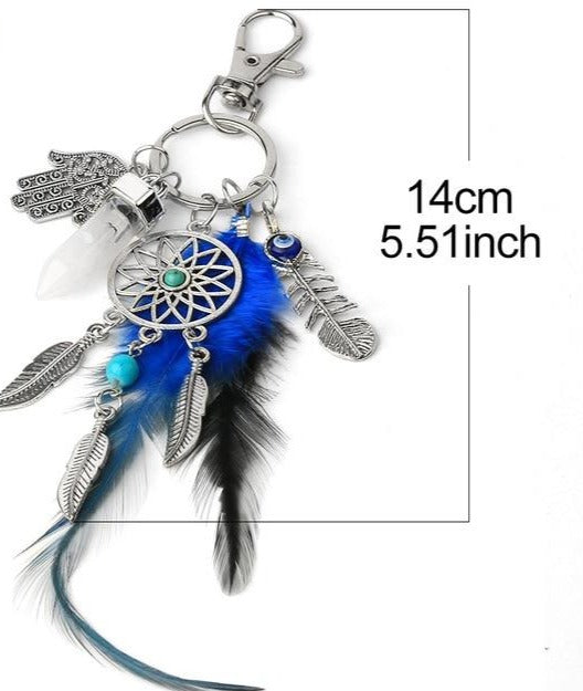 Blue Feather Dream Catcher Keychain