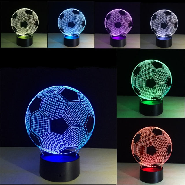 3D Football and Basketball Night Light