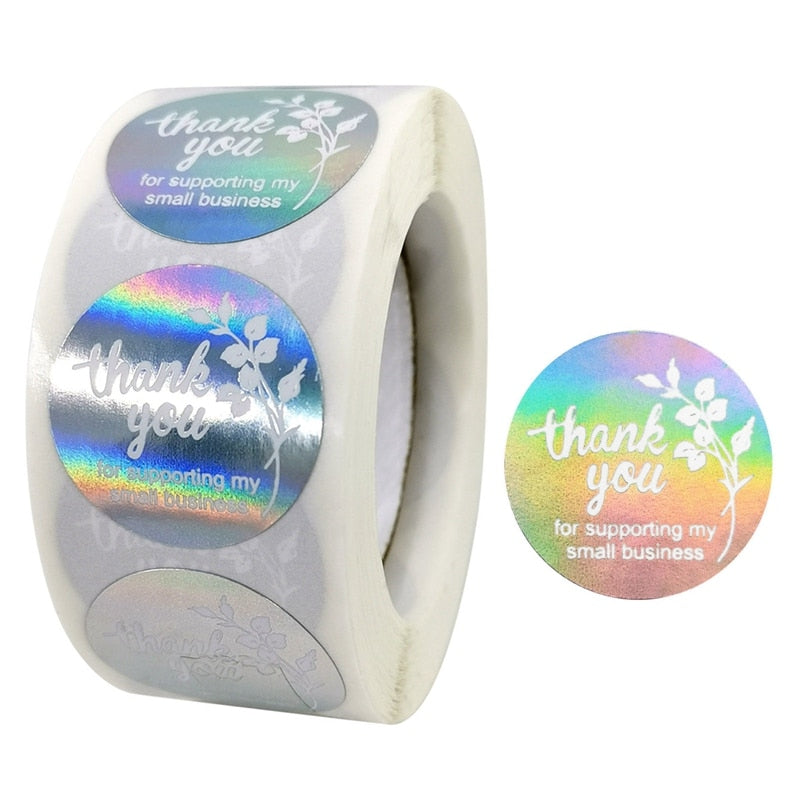 "Holographic ""Thank You for Supporting My Small Business"" Stickers (500 Pieces Roll)"