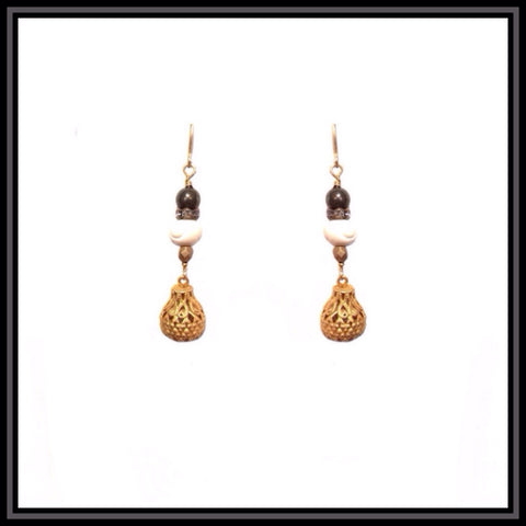 Gold Filigree Teardrop Earrings with Carved Bone Beads