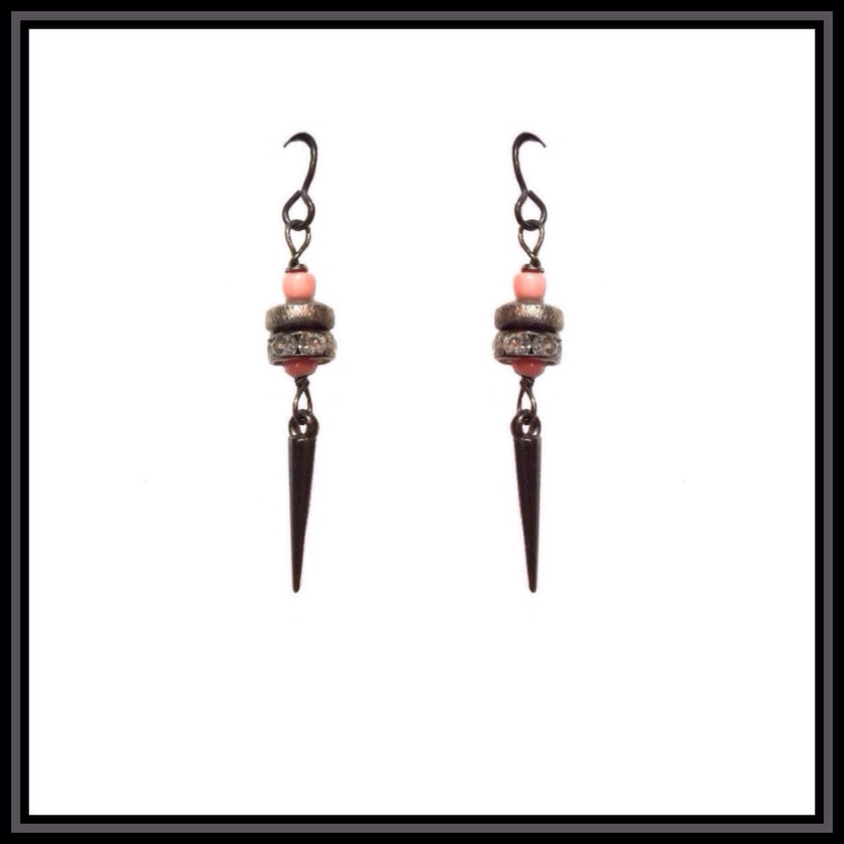 Coral and Gunmetal Spike Earrings