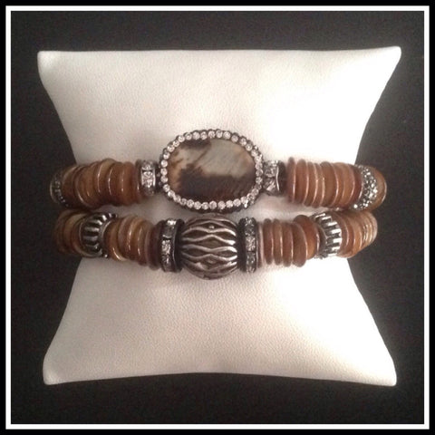 Brown Shell and Agate Bracelet Duo - SOLD OUT