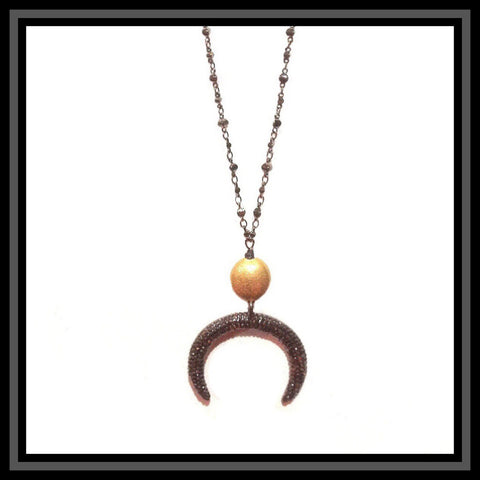 Pave Crystal Crescent Necklace