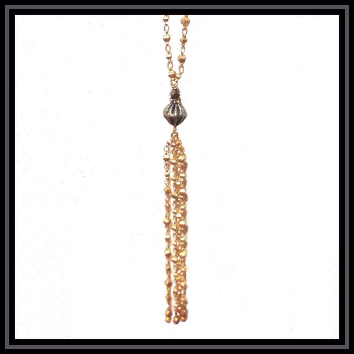 Gold Tassel Necklace with Gunmetal Accents
