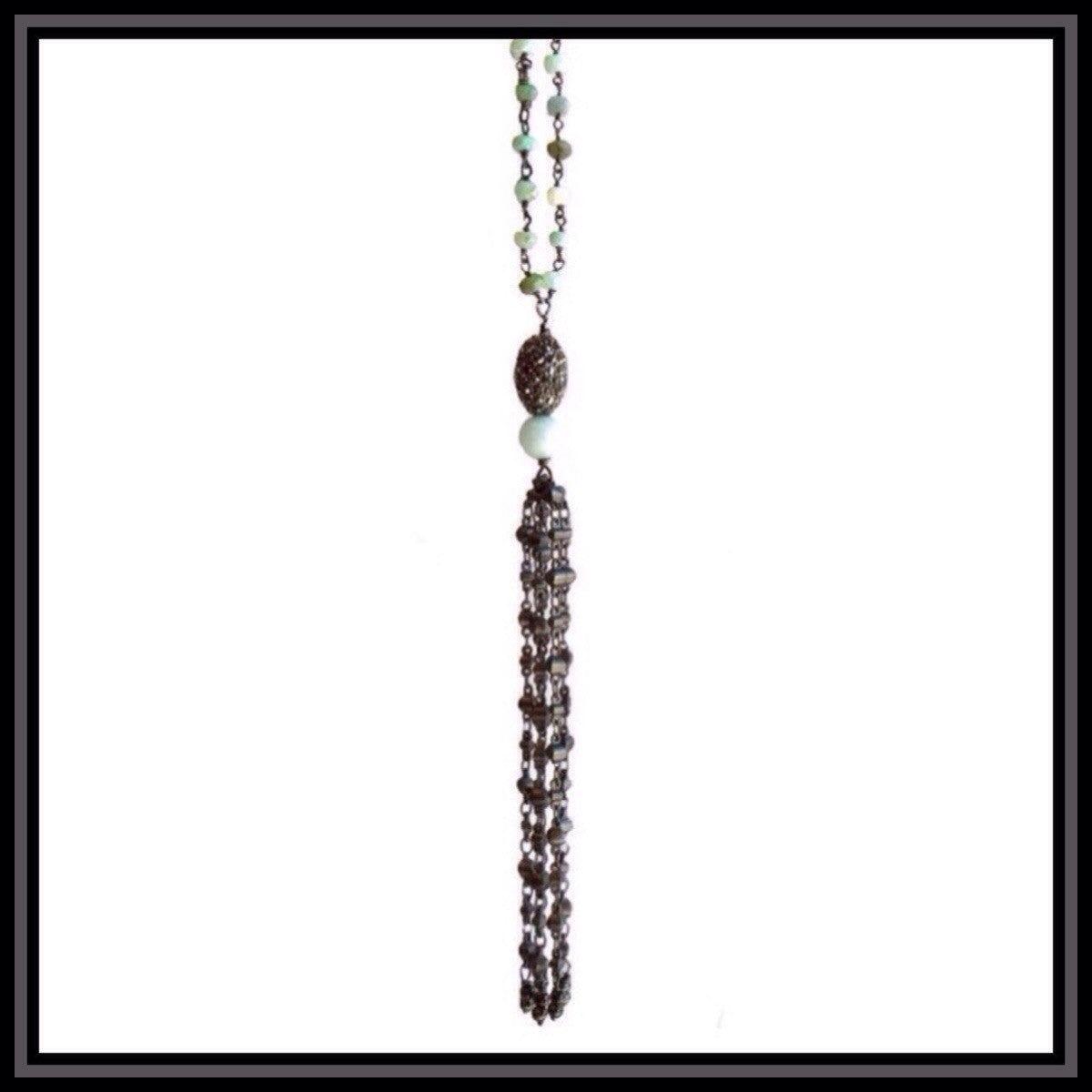 Blue Opal Tassel Necklace