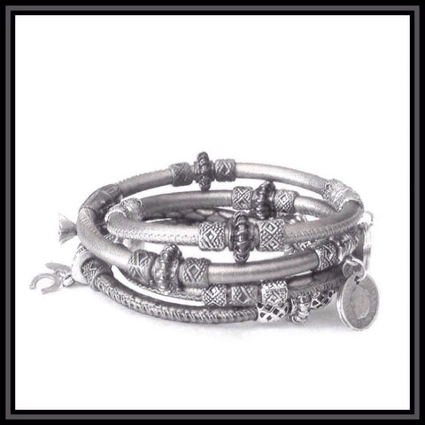Silver Metallic Leather Charm Wrap