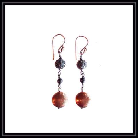 Gunmetal and Copper Earrings-SOLD OUT