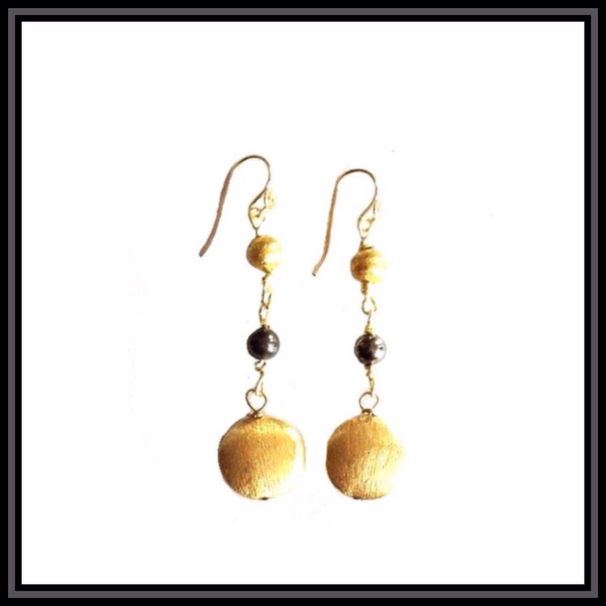 Gold and Hematite Dangle  Earrings