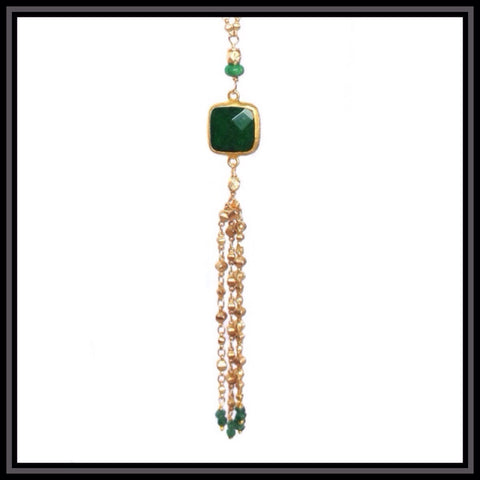 Green Jade Tassel Necklace - SOLD OUT