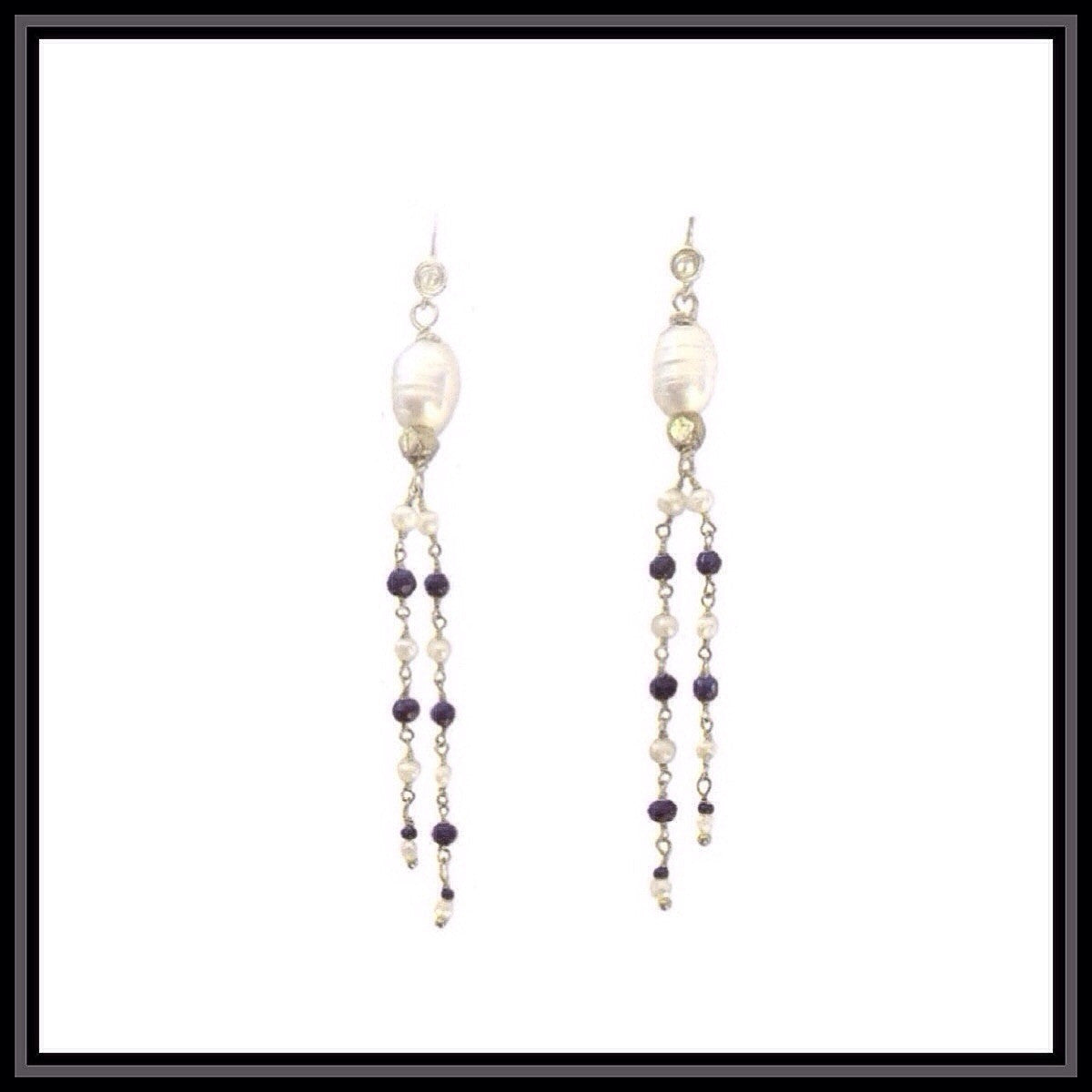 Sapphire and Pearl Tassel Earrings