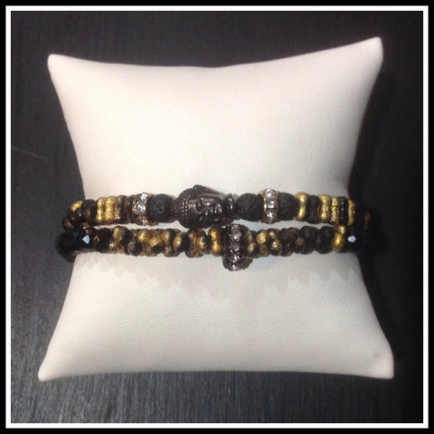 Buddha Bracelet with Black and Gold Farfalle Beads