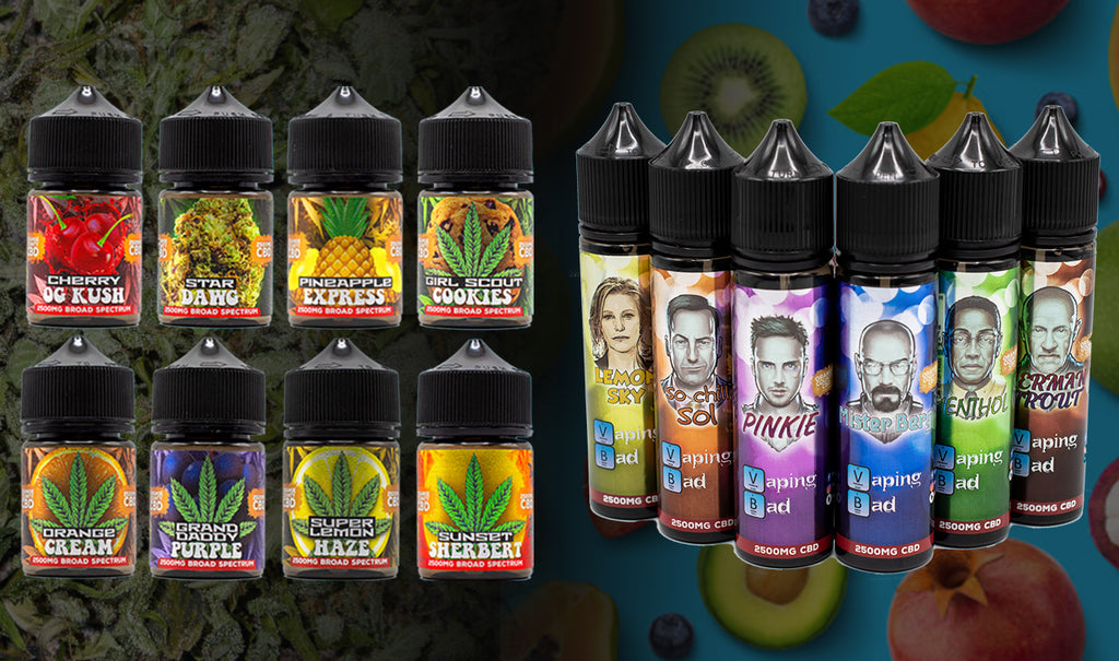Collection of Orange County CBD E liquids (Cali Range and Vaping Bad)