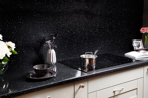 3m x 38mm Black Mirror Chip Full Bullnose Laminate Worktop