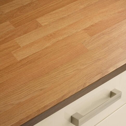 3m x 38mm Oak Block Effect Full Bullnose Laminate Worktop