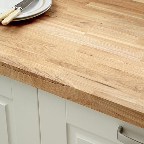 3m x 40mm Unfinished Rustic Oak Solid Wood Worktop