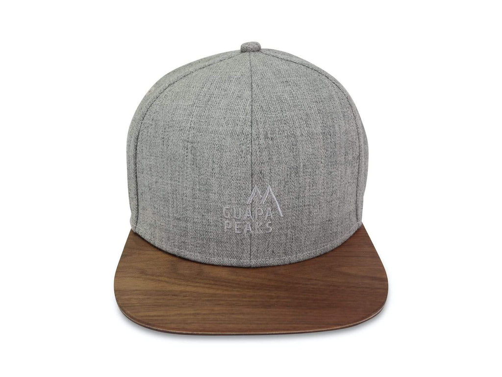 Grey Tweed 6 Panel | Walnut Wood & Navy Surf + Free Visor
