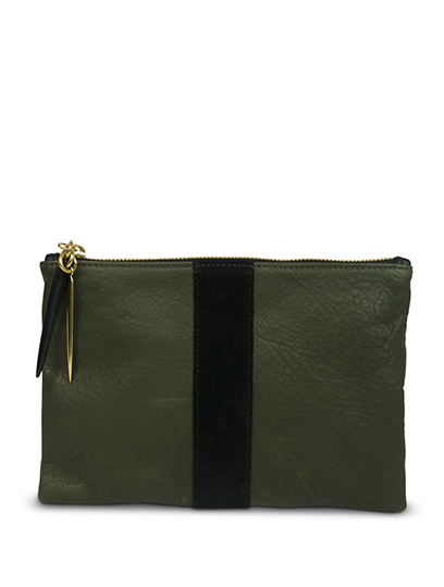 Olive & Black Small Pouch