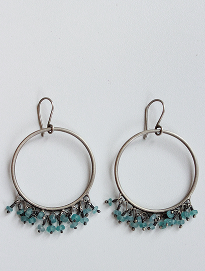 Hoops with Apatite Drop Stones