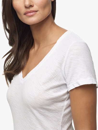 Sheer Slub Casual V-Neck
