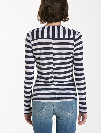 Le Nautical Henley in Navy Stripe