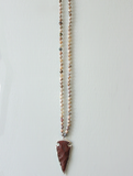 Multi Brioche Agate Statement Arrowhead Necklace