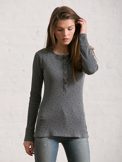 Rose Printed Thermal Henley