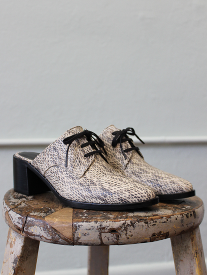 Wander Lace Up Mule in Snake Print