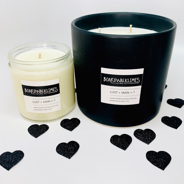 Sexy Scented Luxury 3-wick soy candle in handmade ceramic matte black vase, 1-wick soy candle in modern glass jar with shiny black lid