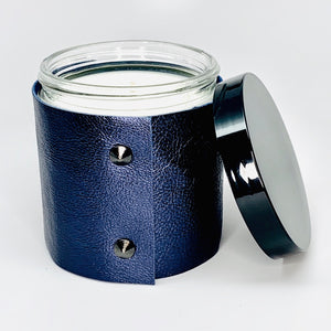 16 oz Luxury Soy Candle in a designer metallic sapphire leather sleeve with 2 black studs