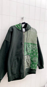Green Patchwork Zip-Up Jacket