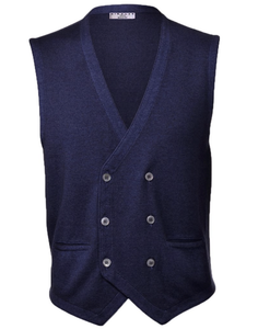 Nicolas Private Label Double Breasted Vintage Washed Navy Vest