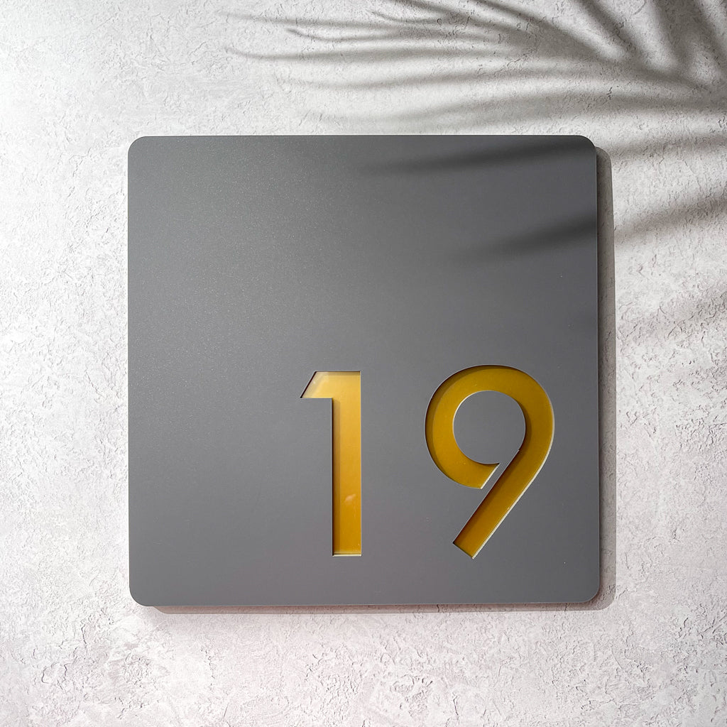 Large Acrylic House Number Sign - Offset