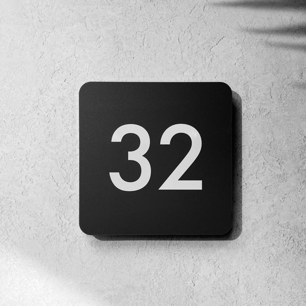 Modern Square 2D House Number Sign